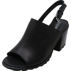 Sorel Nadia Slingback Black Leather Heels